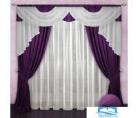 Комплект штор № 033, 230*500,(230*150)*2,(140*700), фиолетовый