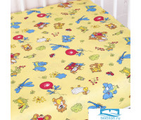 Простыня на резинке бязь детская 383/4 Зоопарк цвет желтый
