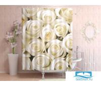 Фотоштора для ванной 145*180, 1 полотно, на люверсах Белые розы