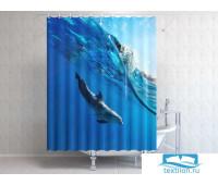 Фотоштора для ванной 145*180, 1 полотно, на люверсах Дельфин