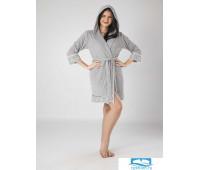 213  Халат женский с капюшоном  XL серый  50% бамбук 50% хлопок