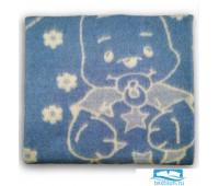 Одеяло шерстяное голубое 85%шерсть, 15%ПЕ 100x140