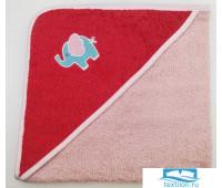 Уголок дет. махровый с вышивкой Слоненок (коралловый) 70x70