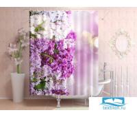 Фотоштора для ванной 145*180, 1 полотно, на люверсах Сирень