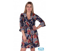 Платье П 746/1 (принт бежево-красный) 52