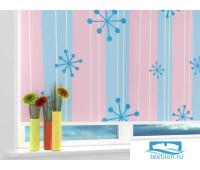 Рулонная штора 'Голубые снежинки' Ширина: 100 см. Высота: 175 см. управление справа