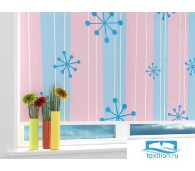 Рулонная штора 'Голубые снежинки' Ширина: 120 см. Высота: 175 см. управление справа