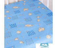 Простыня на резинке бязь детская 366/1 Жирафики цвет голубой