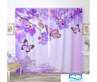 Фотошторы блэкаут 145*260, 2 полотна Бабочки у воды с орхидеями