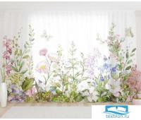 Художественный фототюль 290*260, 1 полотно Акварельные цветы