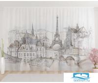 Художественный фототюль 290*260, 1 полотно Парижский пейзаж
