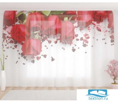 Художественный фототюль 290*260, 1 полотно Праздничные розы