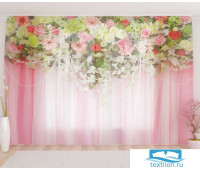 Художественный фототюль 290*260, 1 полотно Цветочный верх 15