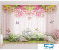 Художественный фототюль 290*260, 1 полотно Цветочный верх 23