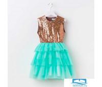 Платье для девочки KAFTAN, золотой/бирюзовый