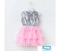 Платье для девочки KAFTAN, серебряный/розовый