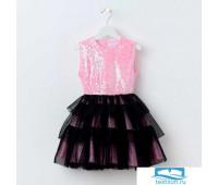 Платье для девочки KAFTAN, розовый/чёрный, рост 98-104 см (30)