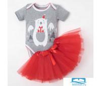 Комплект: юбка, боди Крошка Я 'Новогодний мишутка'
