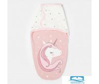 Пеленка-кокон Крошка Я 'Единорог', розовый