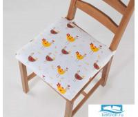 СРт-Кур-40-40 Декоративная подушка (сидушка) «Курочки» рогожка