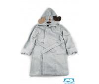 №9 Doggy халат детский р-р: 6 лет, цв. серый