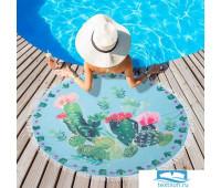 Полотенце пляжное Этель 'Кактусы', d 150 см, микрофибра