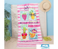 Полотенце пляжное Этель 'Коктейли' 70*150 см