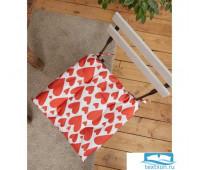 Сидушка на стул 'Этель' Red hearts 42х42см, 100% хл