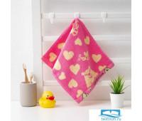 Полотенце махровое Крошка Я 'Мишка'Вид 1, 25*50 см, цв.розовый