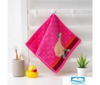 Полотенце махровое Крошка Я 'Мишка'Вид 2, 25*50 см, цв.розовый