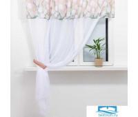 Тюль с подхватом и ламбрекеном Этель 'Белые тюльпаны' 250х200см