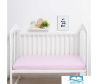 Простыня на резинке 'Крошка Я' Розовая клетка 60*120+13 см