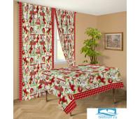 Комплект штор габардин коллекция с ламбрикеном 'Яблоневый цвет'