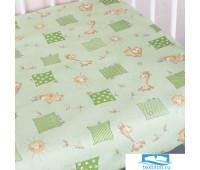 Простыня на резинке бязь детская 366/2 Жирафики цвет зеленый