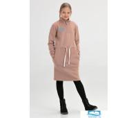 601103 Платье детское миди с воротником-стойкой бежевое 152