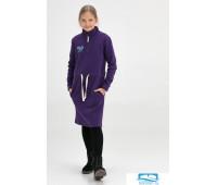 601105 Платье детское миди с воротником-стойкой фиолетовое 152