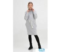 601106 Платье детское миди с воротником-стойкой серый меланж