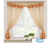 Комплект штор для кухни Акцент тем. песок