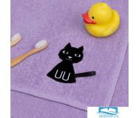 Полотенце Экономь и Я с петелькой «Котик» 50*80 см, цв.лиловый