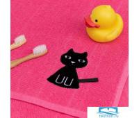 Полотенце Экономь и Я с петелькой «Котик» 50*80 см, цв.розовый