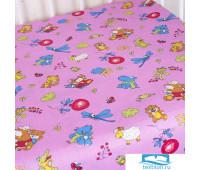 Простыня на резинке бязь детская 383/3 Зоопарк цвет розовый