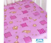 Простыня на резинке бязь детская 366/3 Жирафики цвет розовый