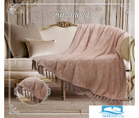 Пледы Плед 'Феличе' розовая пудра жаккард/кисточки 210х230