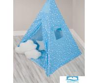 Вигвам детский с матрасом 'Звезды' голубой Высота 155
