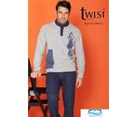 Теплая мужская домашняя одежда из смесовой ткани Twisi