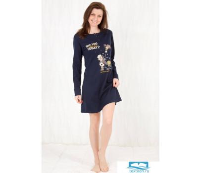 Уютное женское платье для дома Happy people HP_3126 Темно-синий