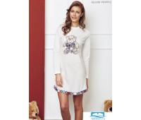 Короткое домашнее платье-сорочка с мишкой Miss Lingerie