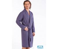 Хлопковый мужской халат с контрастной полоской B&B B&B_Tenerif