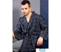 Шерстяной мужской халат в клетку B&B B&B_Oslo blue Темно-синий