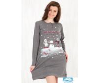 Уютное домашнее платье с зимним рисунком Happy people HP_3221